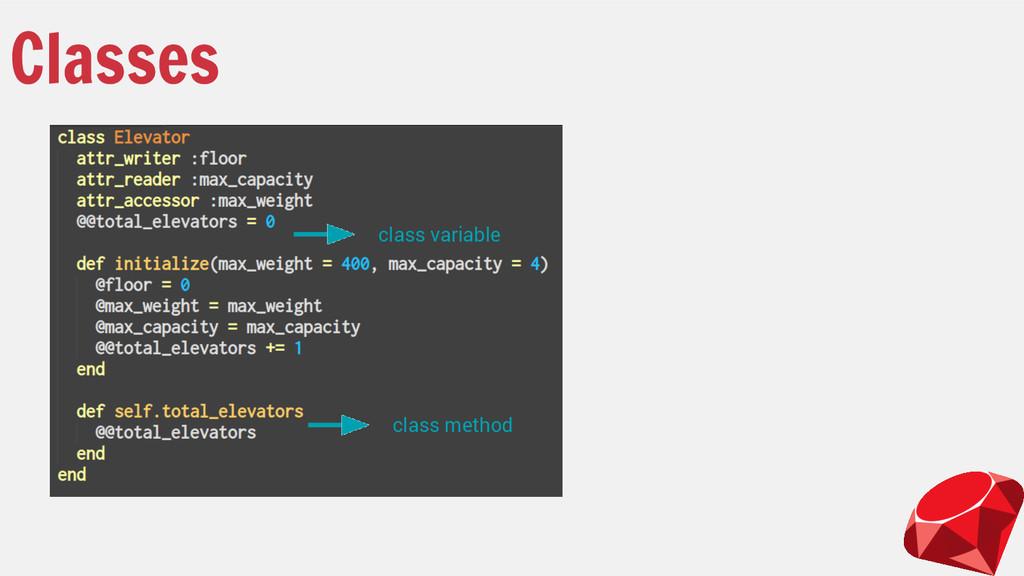 Classes class variable class method