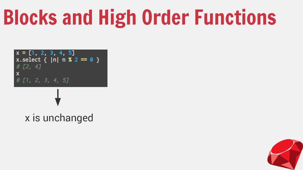 Blocks and High Order Functions x is unchanged