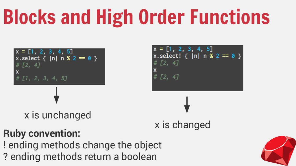 Blocks and High Order Functions x is unchanged ...