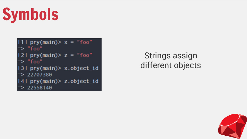 Symbols Strings assign different objects