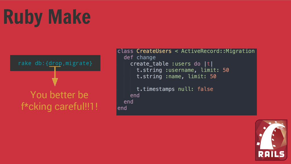 Ruby Make rake db:{drop,migrate} You better be ...