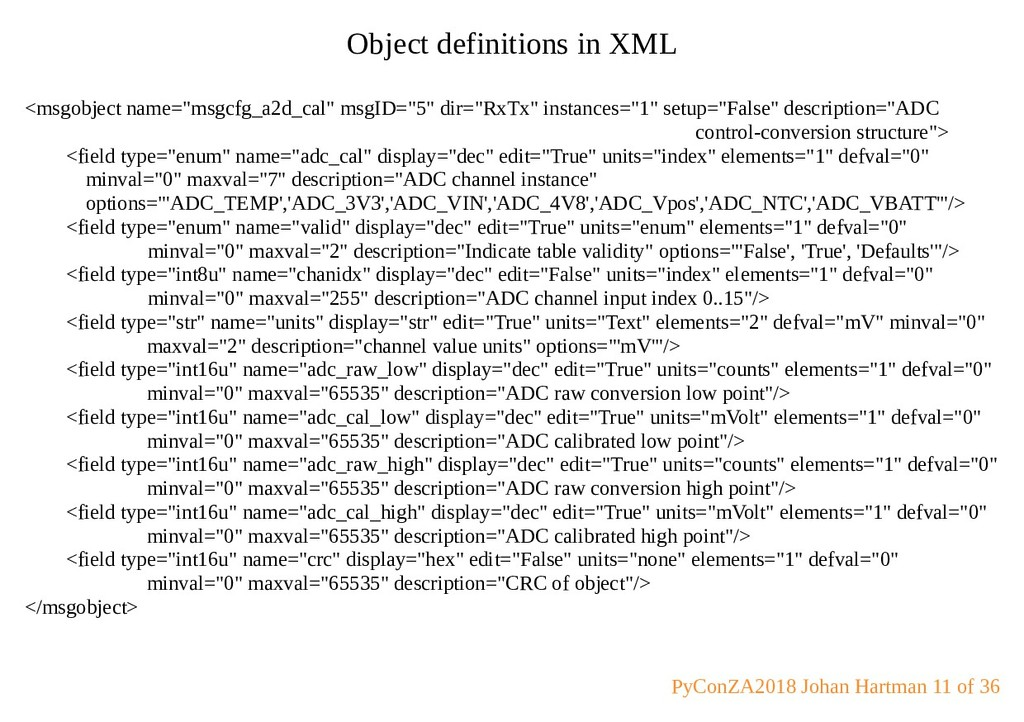 """Object definitions in XML <msgobject name=""""msgc..."""