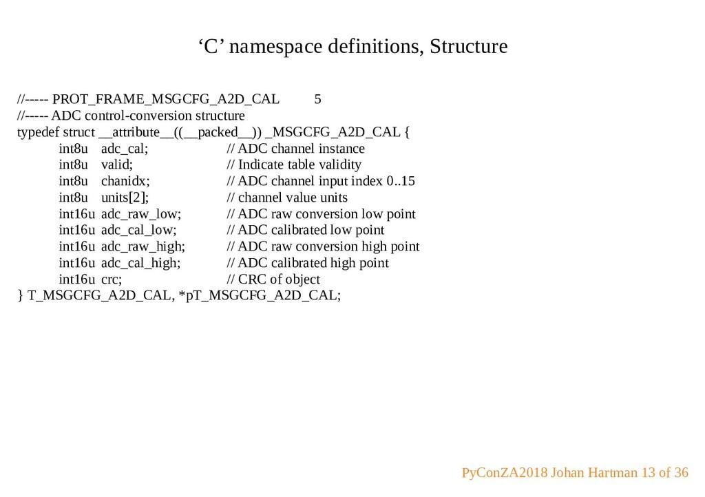 'C' namespace definitions, Structure //----- PR...