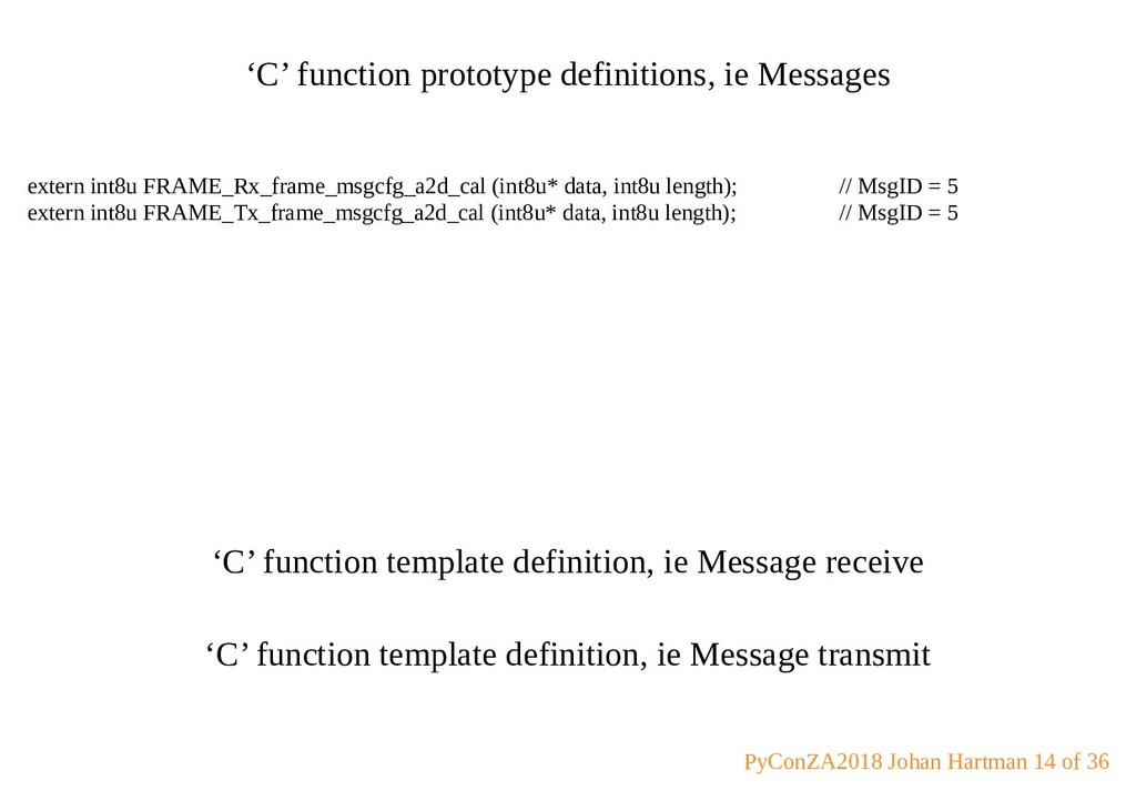 'C' function prototype definitions, ie Messages...