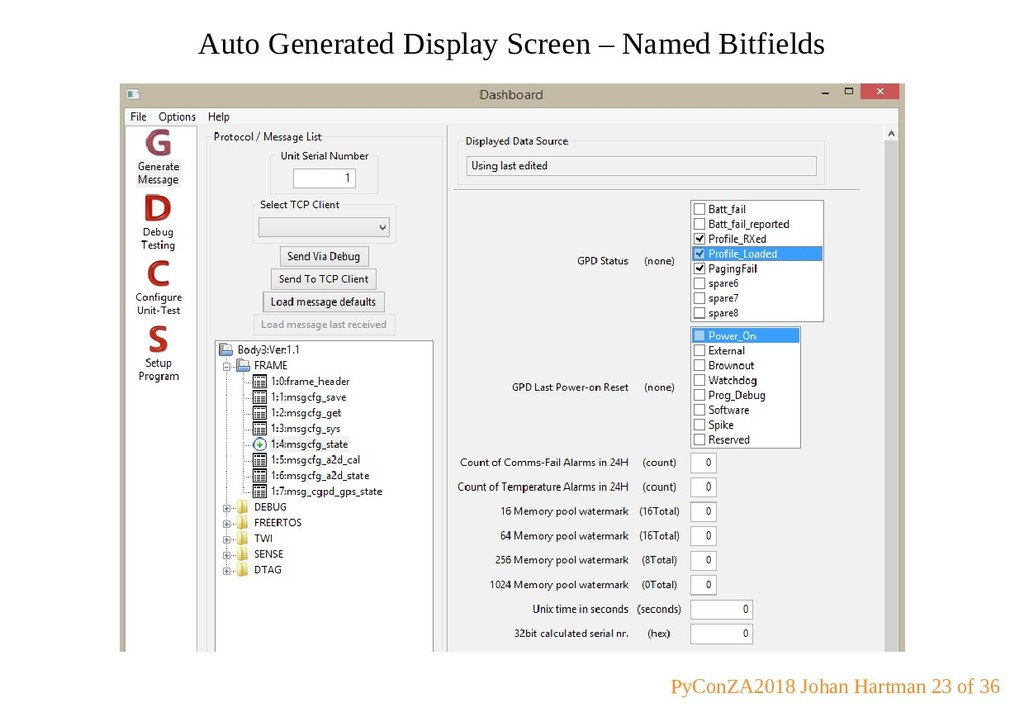 Auto Generated Display Screen – Named Bitfields...