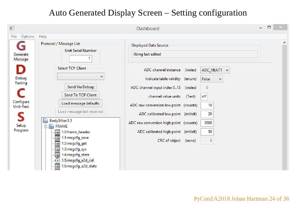 Auto Generated Display Screen – Setting configu...