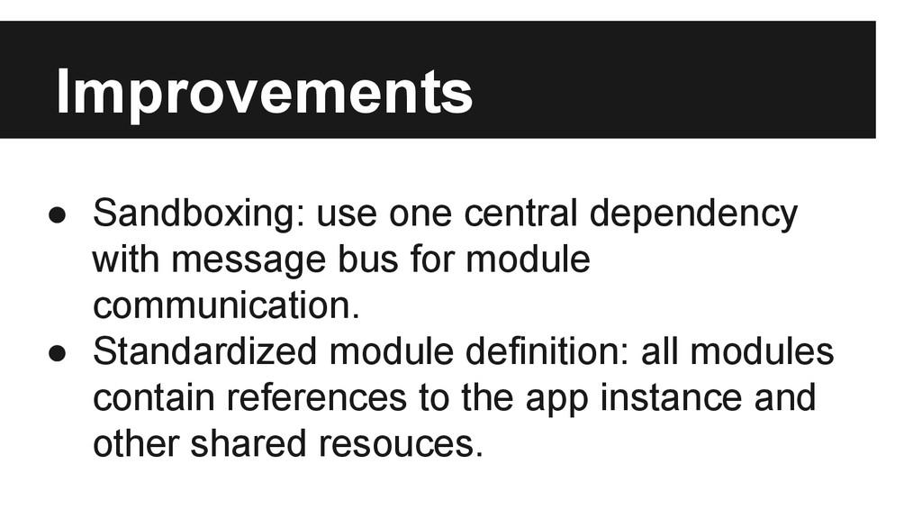 Improvements ● Sandboxing: use one central depe...