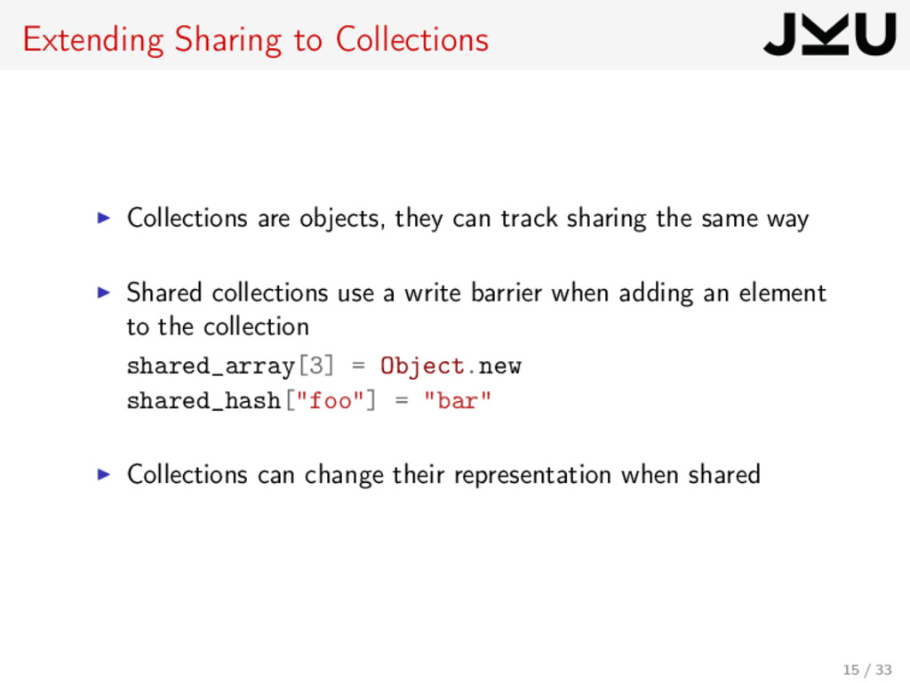 Extending Sharing to Collections Collections ar...