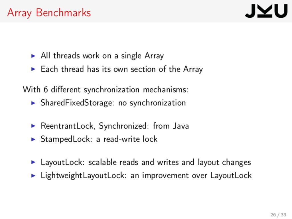 Array Benchmarks All threads work on a single A...