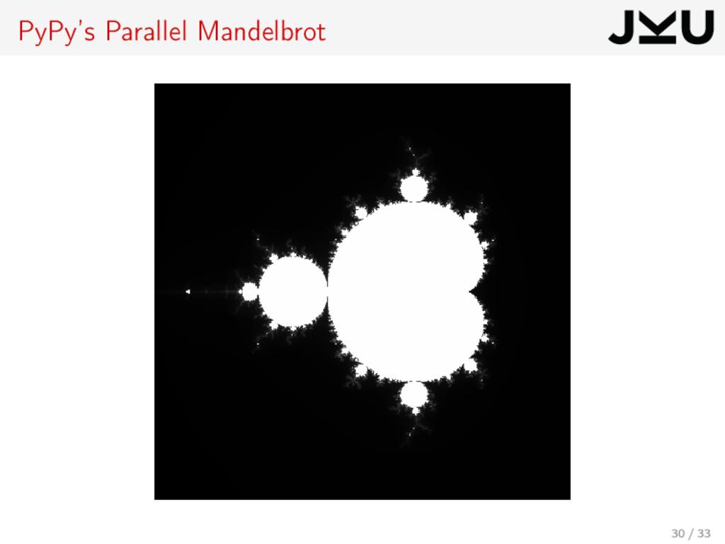 PyPy's Parallel Mandelbrot 30 / 33