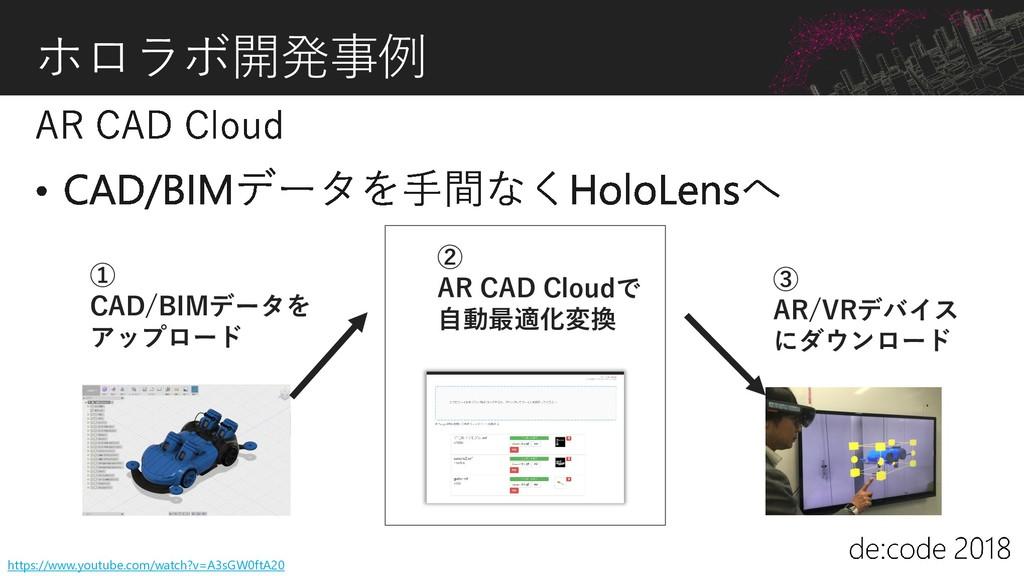 ホロラボ開発事例 ③ AR/VRデバイス にダウンロード ② AR CAD Cloudで 自動...