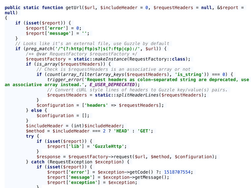 public static function getUrl($url, $includeHea...