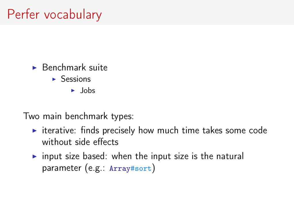 Perfer vocabulary Benchmark suite Sessions Jobs...