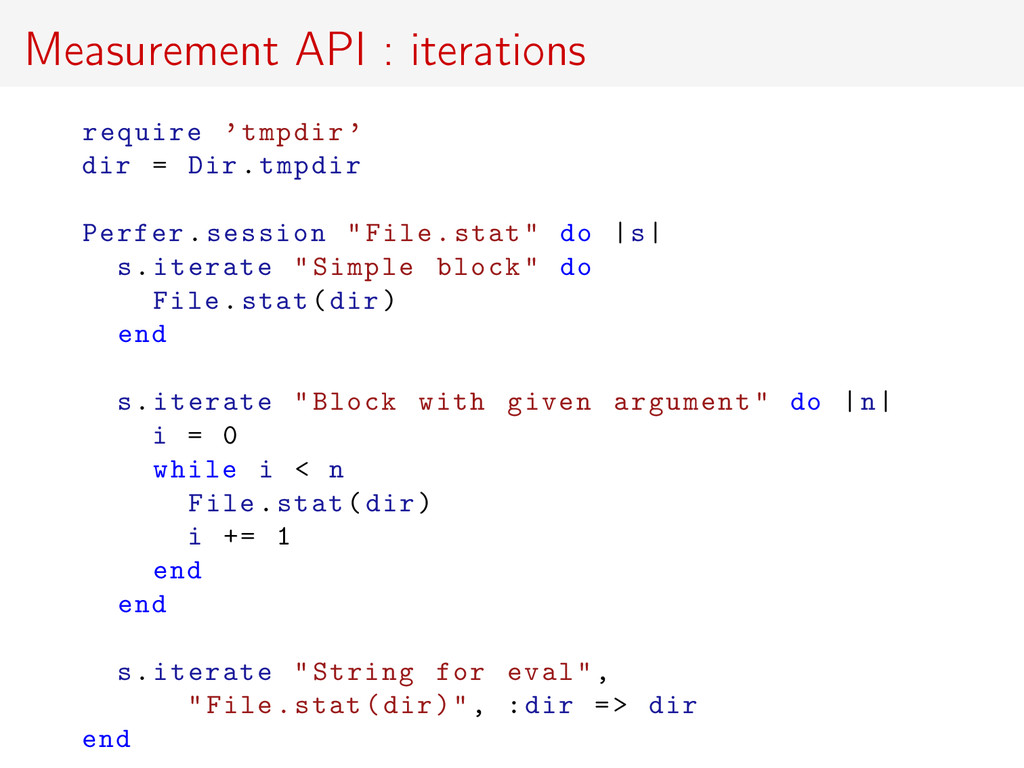 Measurement API : iterations require 'tmpdir ' ...