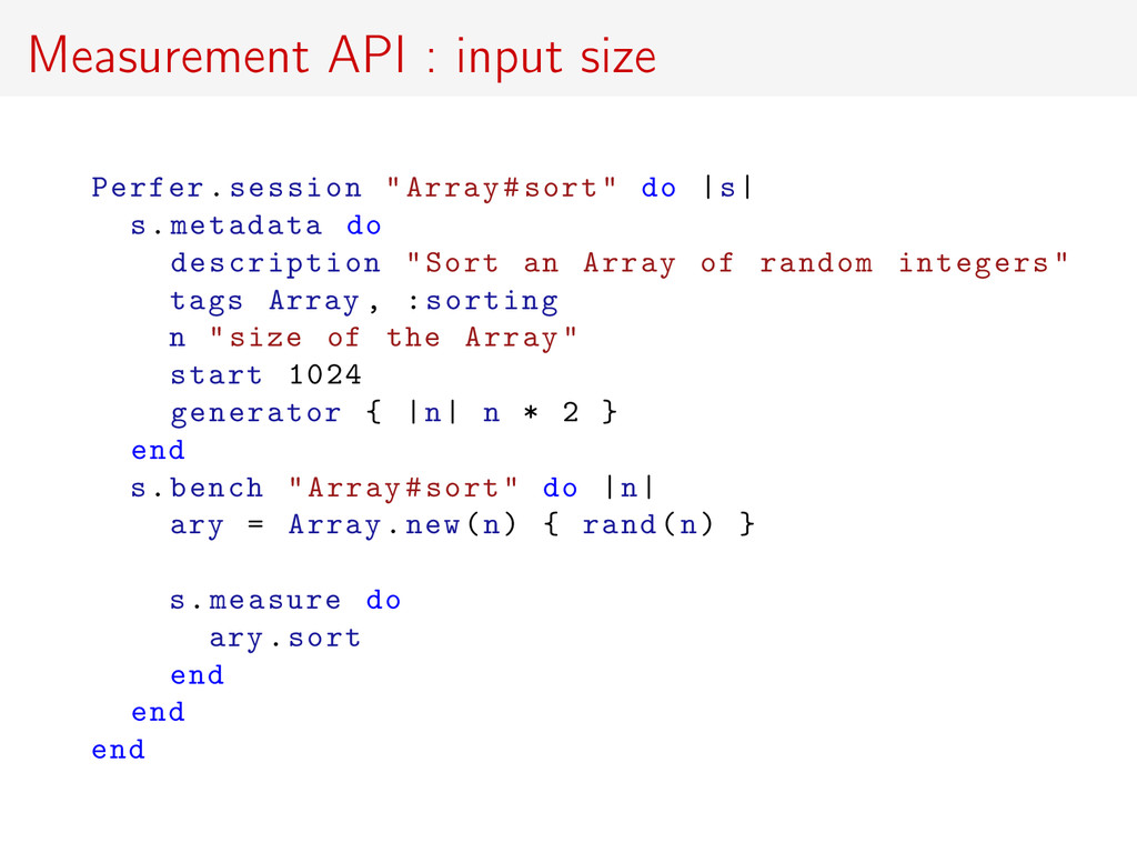 "Measurement API : input size Perfer.session ""Ar..."