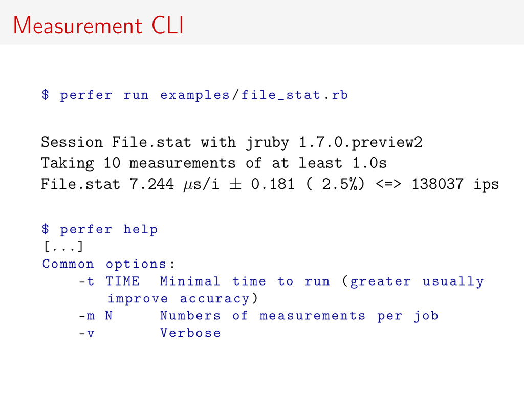 Measurement CLI $ perfer run examples/file_stat...