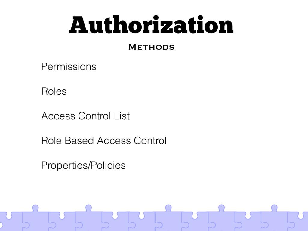 Authorization Methods Permissions Roles Access ...