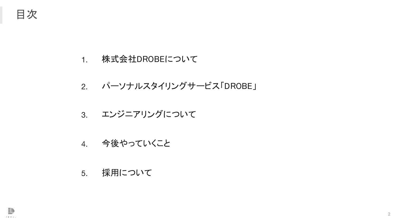 1. 2. 3. 4. 5. 目次 DROBEについて チームの紹介 サービスについて...