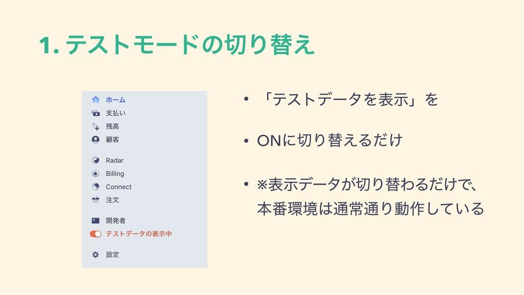 1. ςετϞʔυͷΓସ͑ • ʮςετσʔλΛදࣔʯΛ • ONʹΓସ͑Δ͚ͩ • ※ද...