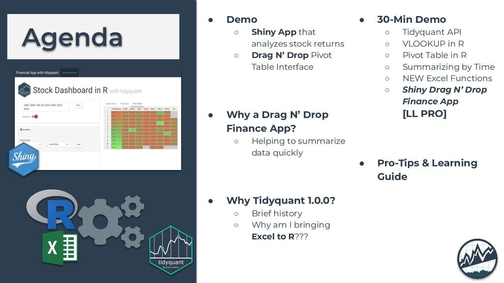 Agenda ● Demo ○ Shiny App that analyzes stock r...