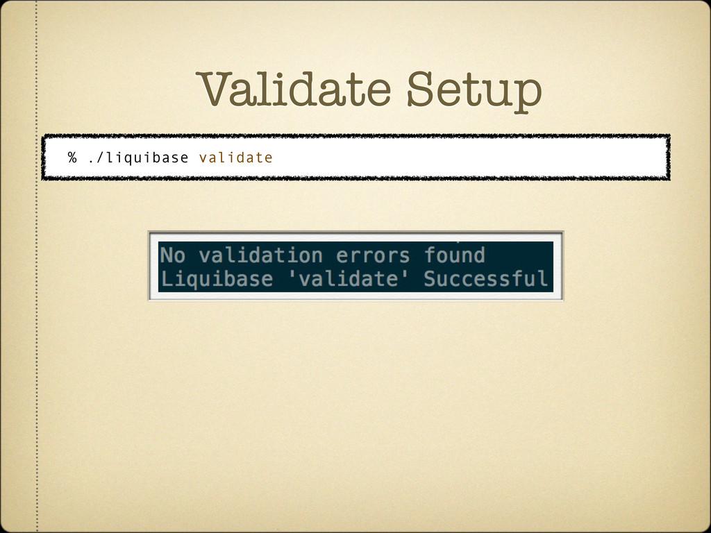 Validate Setup % ./liquibase validate
