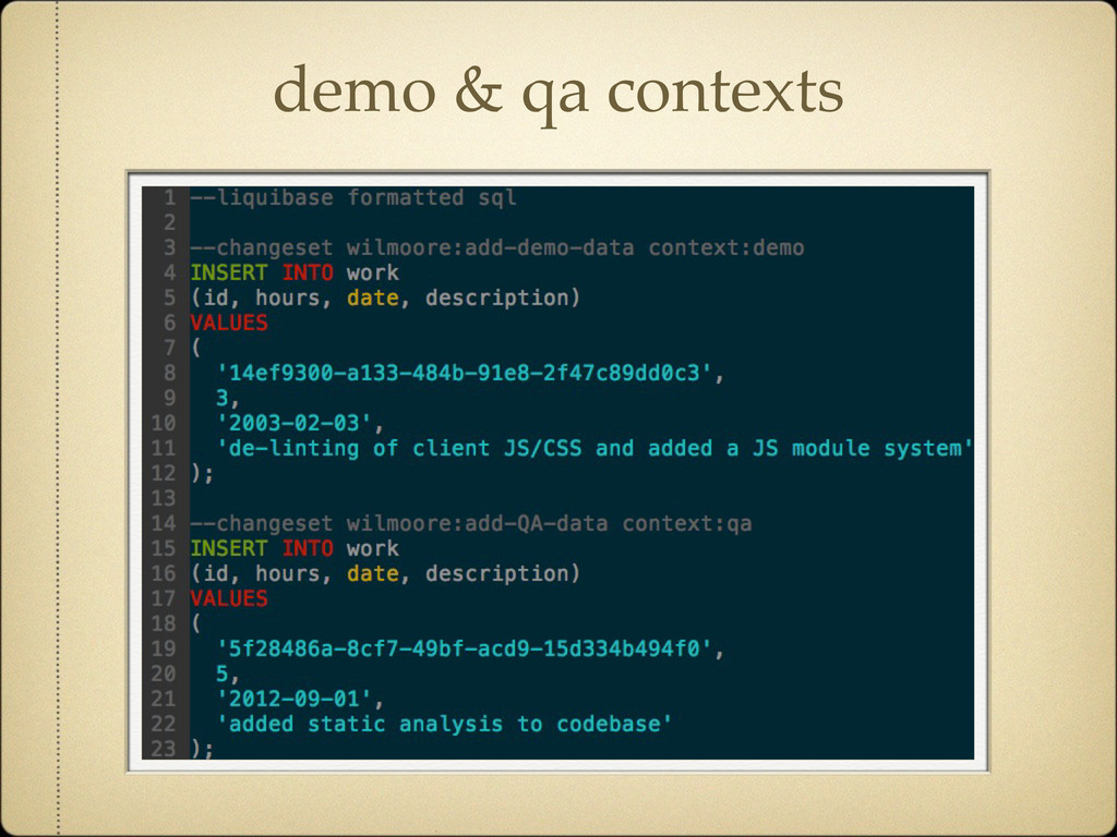 demo & qa contexts