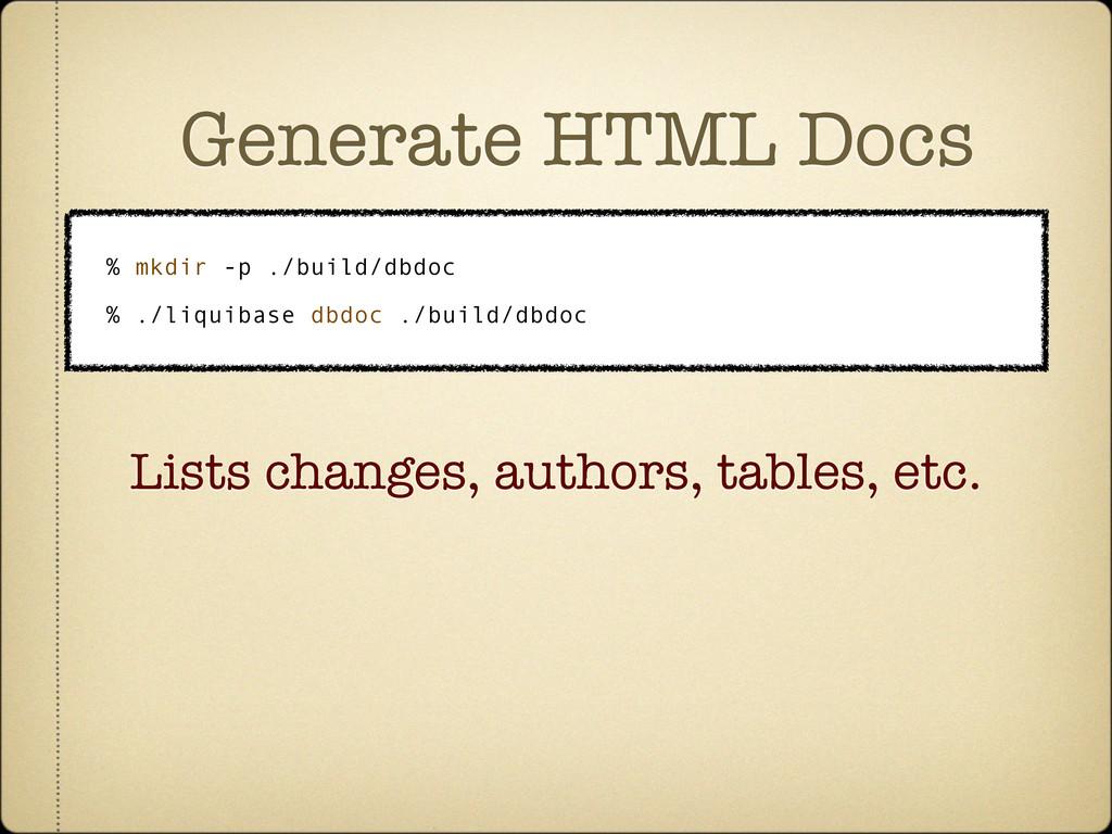 Generate HTML Docs % mkdir -p ./build/dbdoc % ....