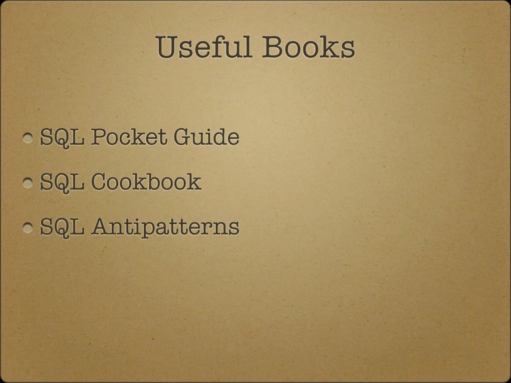 SQL Pocket Guide SQL Cookbook SQL Antipatterns ...