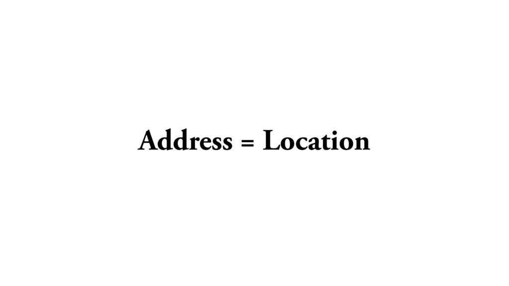 Address = Location