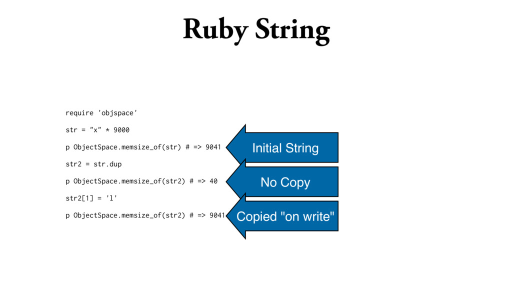 """Ruby String require 'objspace' str = """"x"""" * 9000..."""