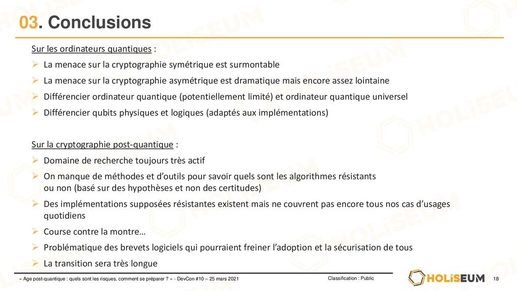 18 Classification : Public « Age post-quantique...