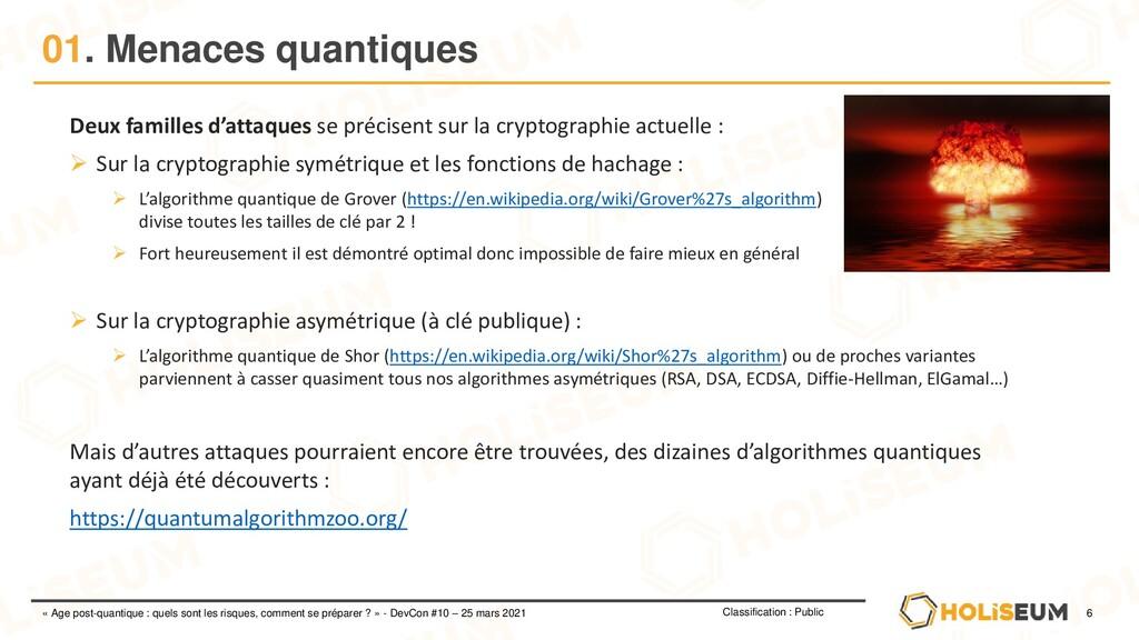 6 Classification : Public « Age post-quantique ...