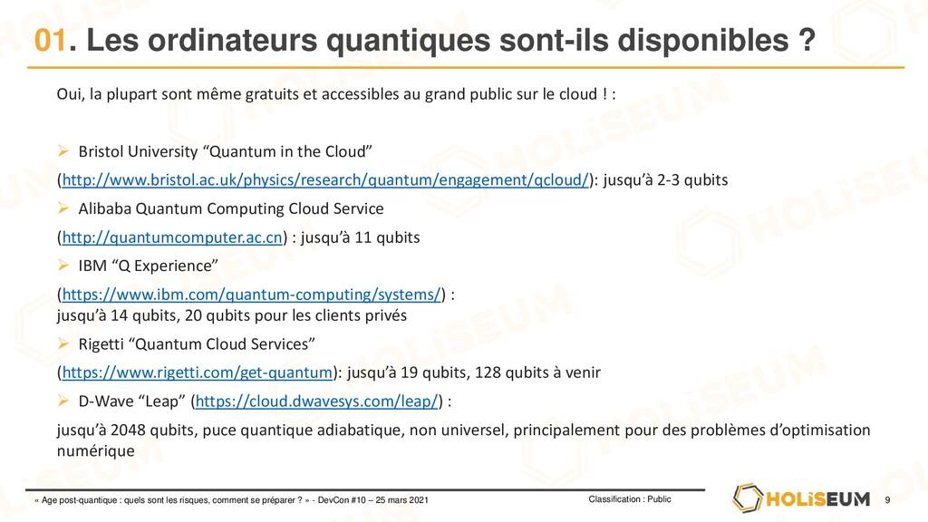 9 Classification : Public « Age post-quantique ...
