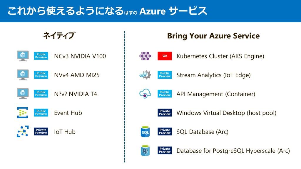これから使えるようになるはずの Azure サービス ネイティブ Bring Your Azu...
