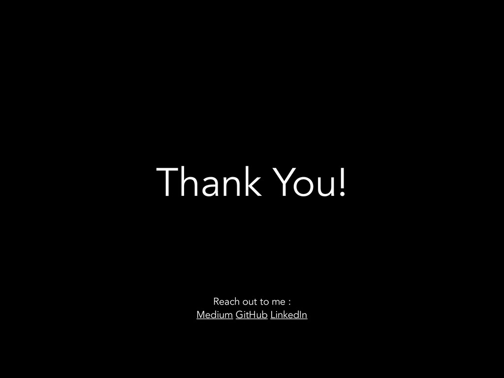 Thank You! Reach out to me : Medium GitHub Link...