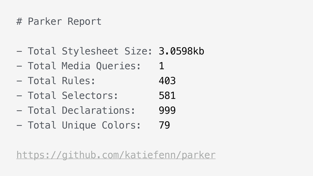 # Parker Report - Total Stylesheet Size: 3.0598...