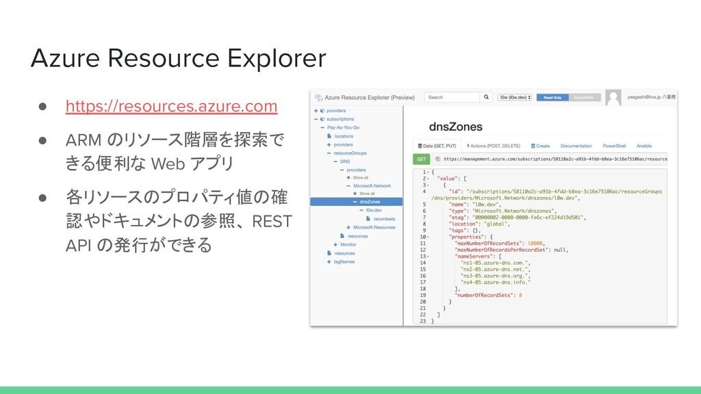 Azure Resource Explorer ● https://resources.azu...