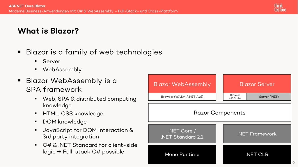 6 § Blazor is a family of web technologies § Se...