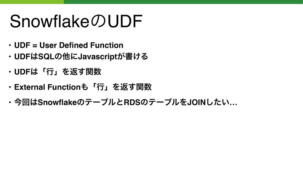 SnowflakeͷUDF • UDF = User Defined Function • UDF...