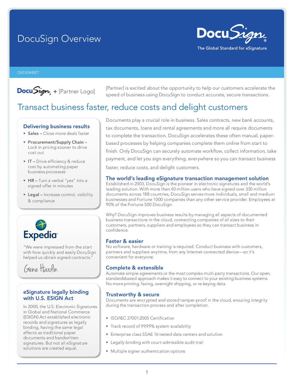 1 DATASHEET DocuSign Overview Documents play a ...
