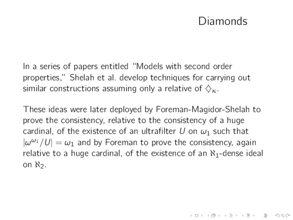 "Diamonds In a series of papers entitled ""Models..."
