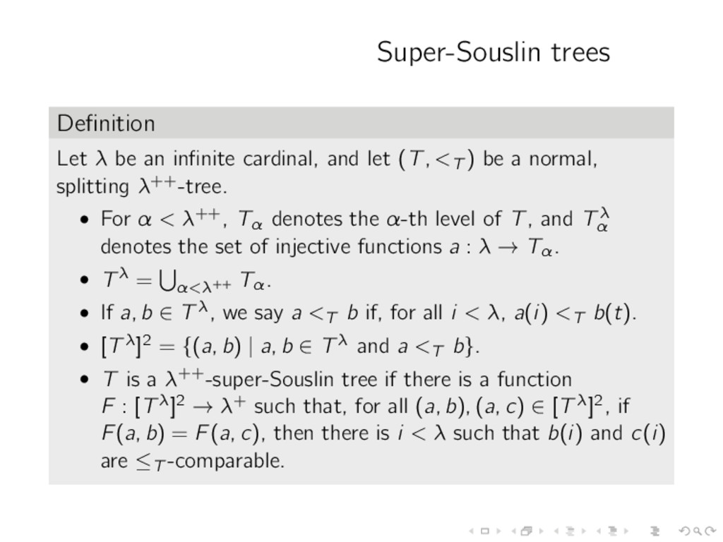 Super-Souslin trees Definition Let λ be an infini...