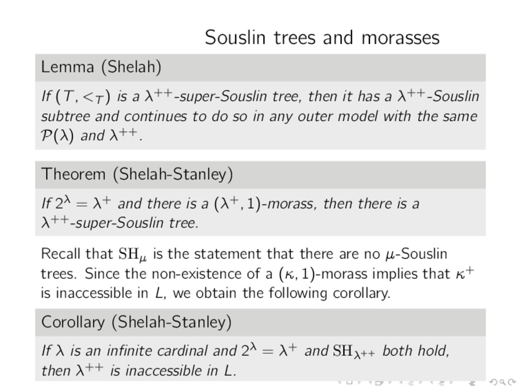 Souslin trees and morasses Lemma (Shelah) If (T...