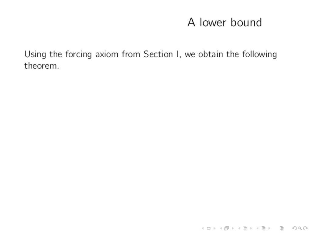 A lower bound Using the forcing axiom from Sect...