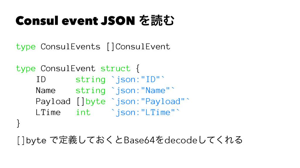 Consul event JSON ΛಡΉ type ConsulEvents []Consu...