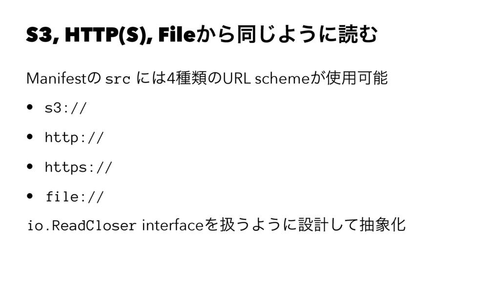 S3, HTTP(S), File͔Βಉ͡Α͏ʹಡΉ Manifestͷ src ʹ4छྨͷ...
