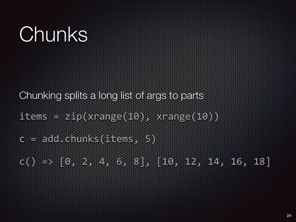 Chunks 24 Chunking splits a long list of args t...
