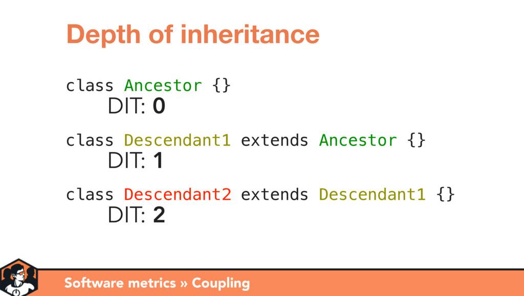 class Ancestor {} DIT: 0 class Descendant1 exte...