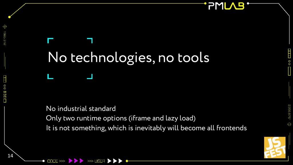 No technologies, no tools No industrial standar...