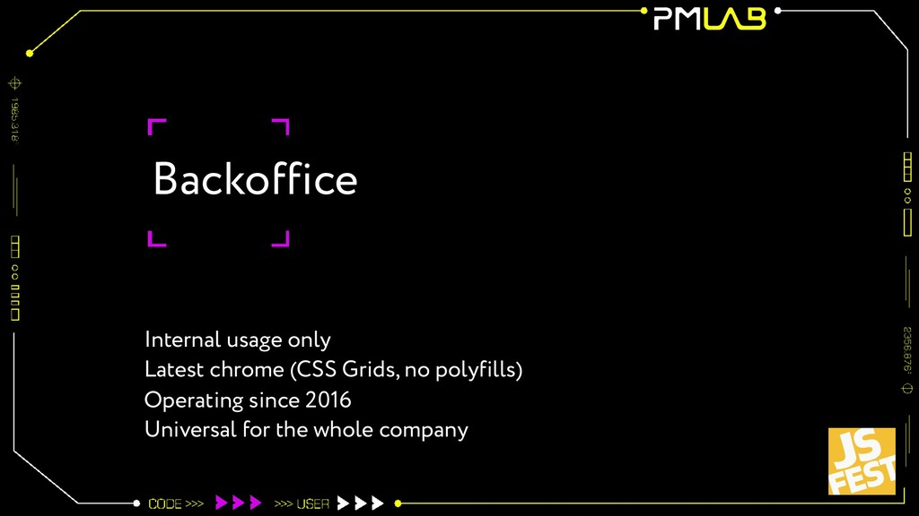 Backoffice Internal usage only Latest chrome (C...